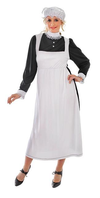 Ladies Victorian Maid Fancy Dress Costume 10-14